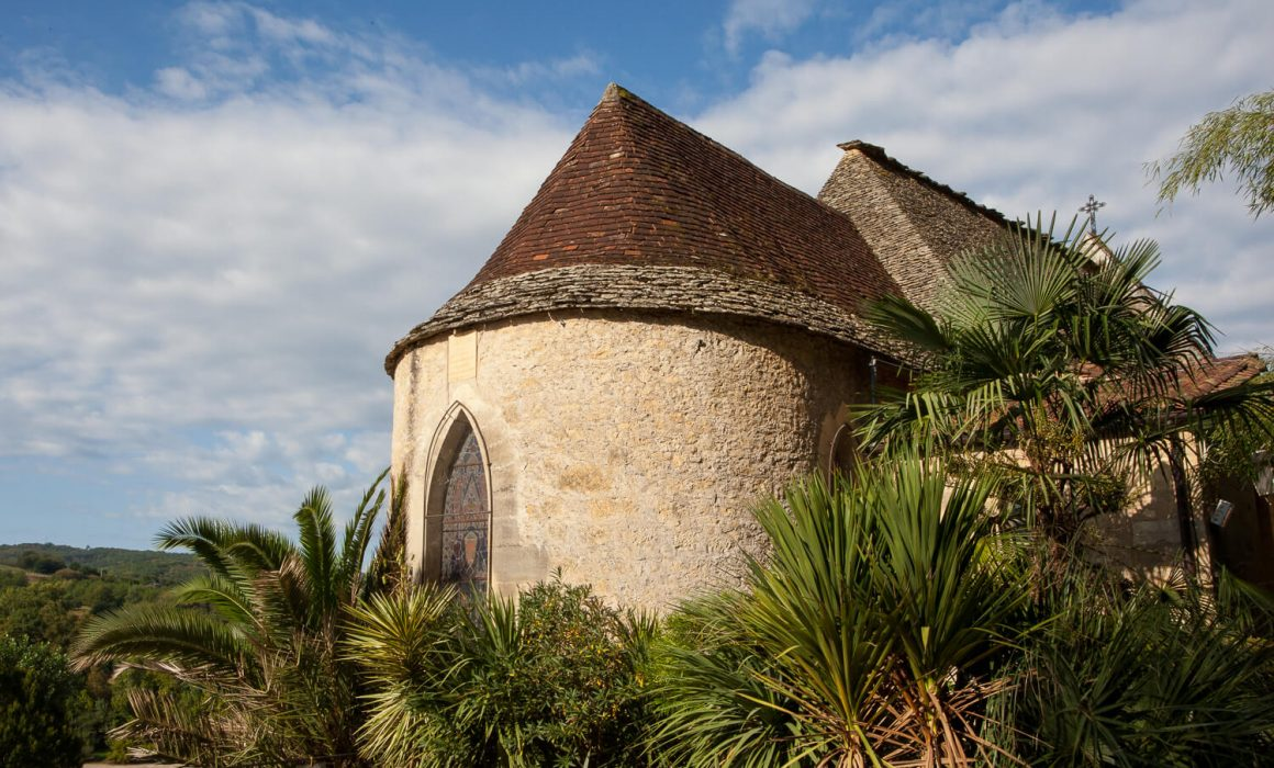 Romanesque Church in the Gardens of La Roque de Gageac,