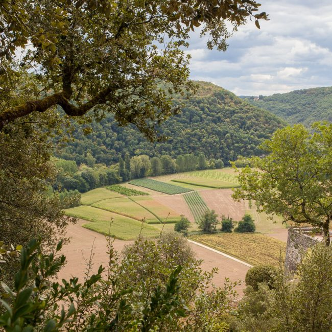 View of the Dordogne River valley farms