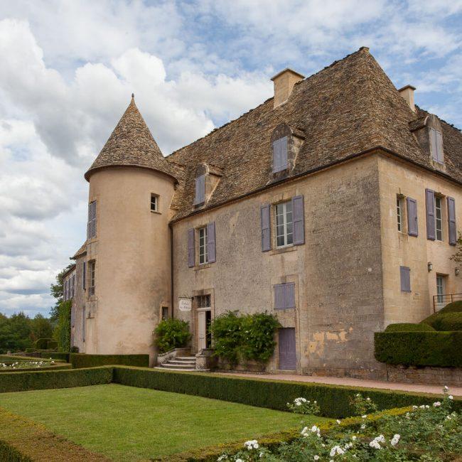 Marqueyssac Chateau lauze stone blue shutters
