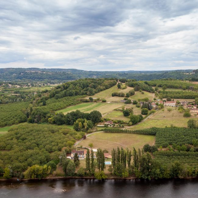 View of the Dordogne River from the Gardens of Marqueyssac belvedere.